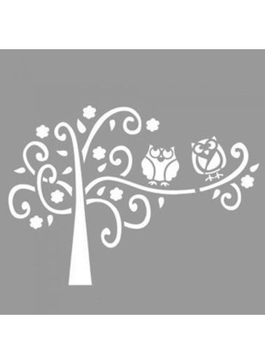 Artikel Spiral Desenli Ağaç ve Baykuş Stencil Tasarımı 30 x 30 cm Renkli